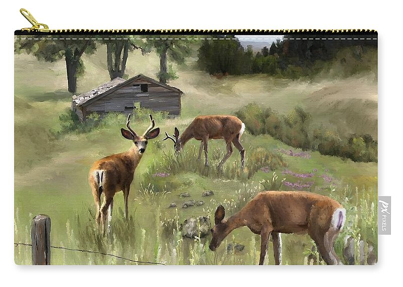 Deer Carry-all Pouch featuring the painting The Calm by Susan Kinney