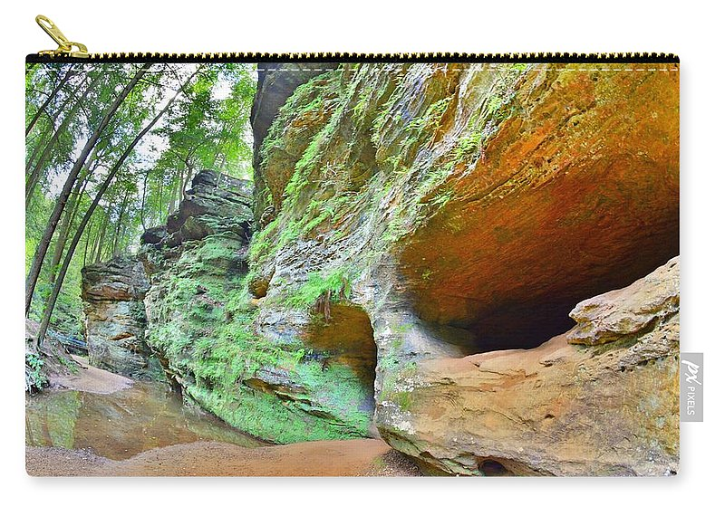 The Caves At Old Man's Gorge Trail Hocking Hills Ohio Carry-all Pouch featuring the photograph The Caves At Old Man's Gorge Trail Hocking Hills Ohio by Lisa Wooten