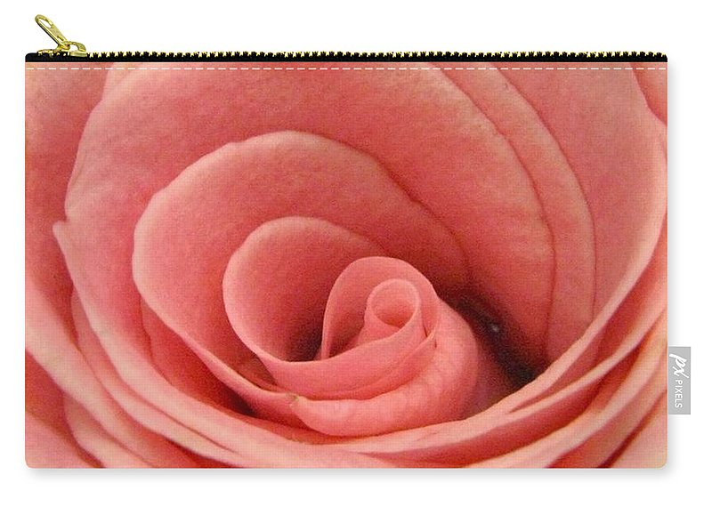 Rose Carry-all Pouch featuring the photograph The Center of a Rose by Rhonda Barrett