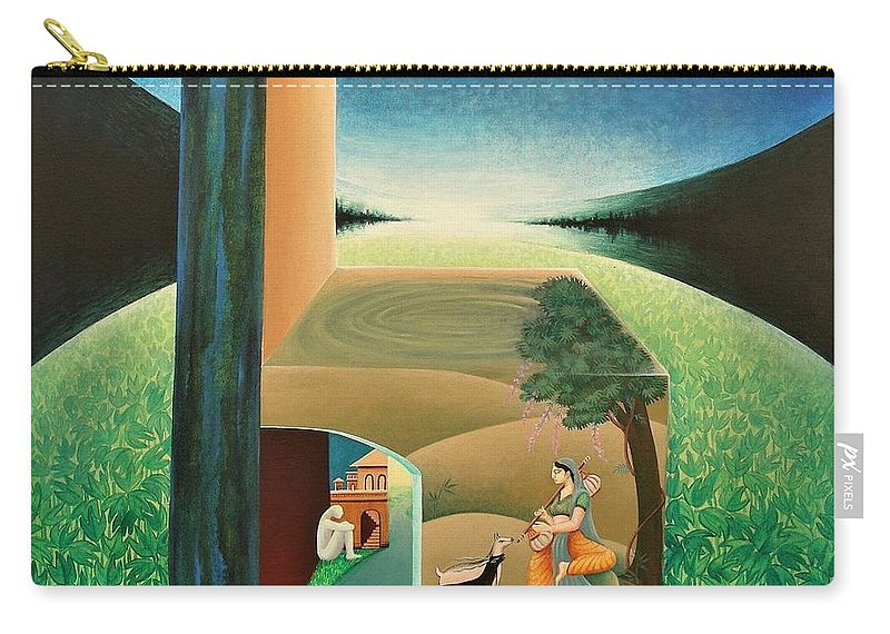 Romantic Carry-all Pouch featuring the painting The Chair - A by Raju Bose