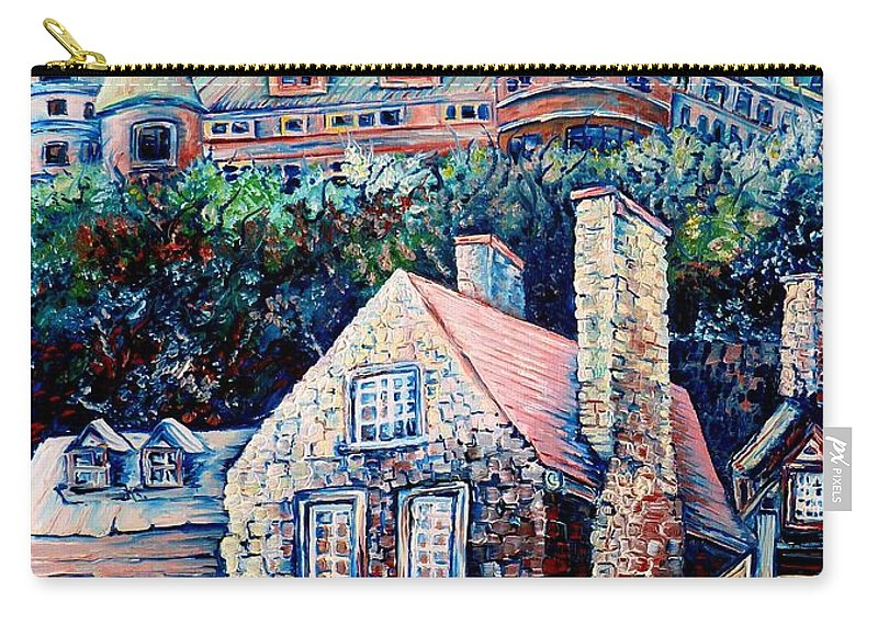 Chateau Frontenac Carry-all Pouch featuring the painting The Chateau Frontenac by Carole Spandau
