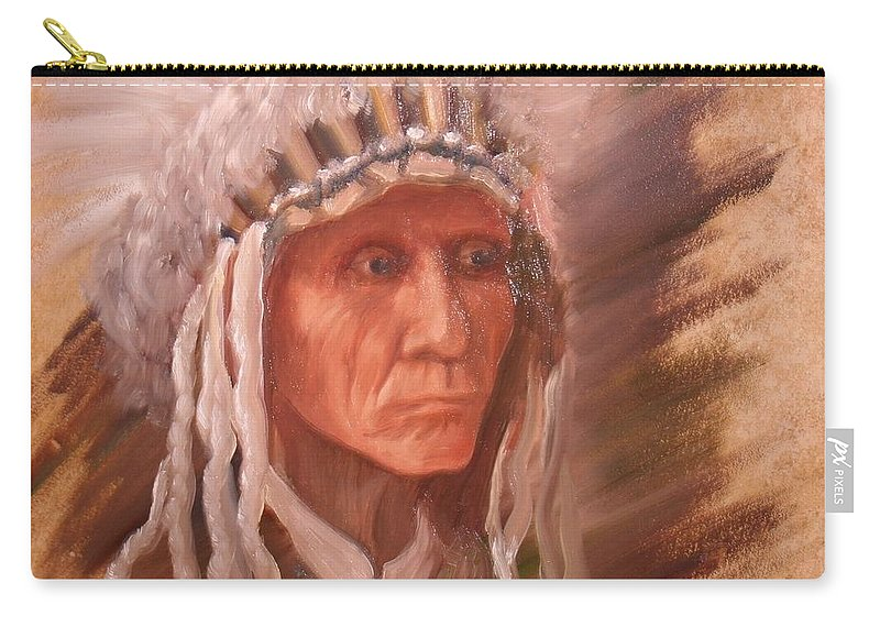 Carry-all Pouch featuring the painting The Chief by Teresa Davis