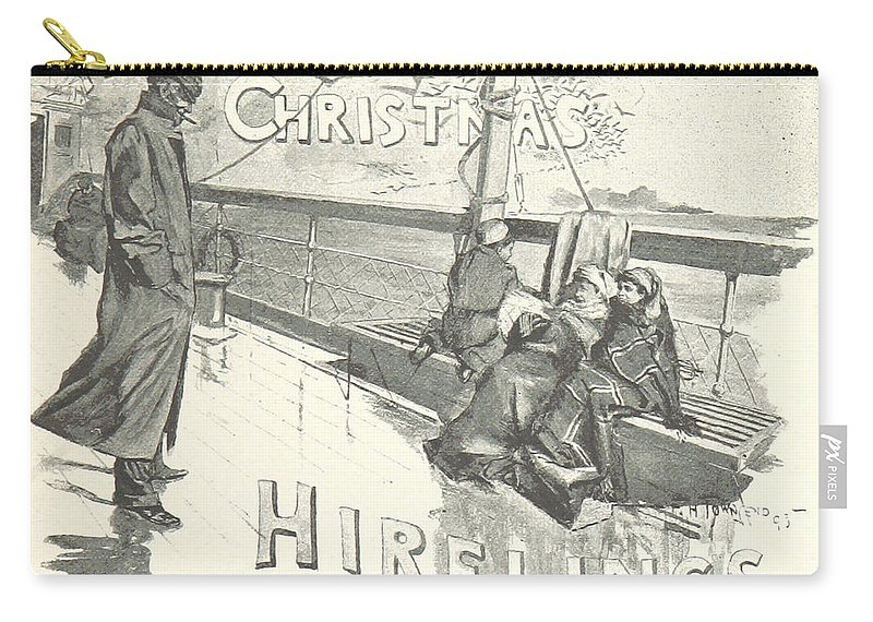 Title Carry-all Pouch featuring the drawing The Christmas Hirelings by R Muirhead Art