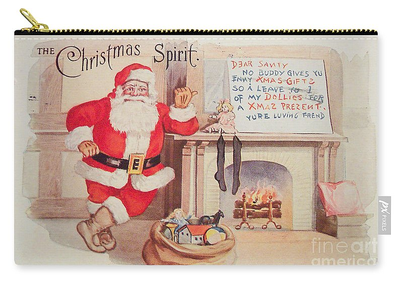 The Christmas Spirit Carry-all Pouch featuring the painting The Christmas Spirit Vintage Card Santa Next To Fireplace by R Muirhead Art