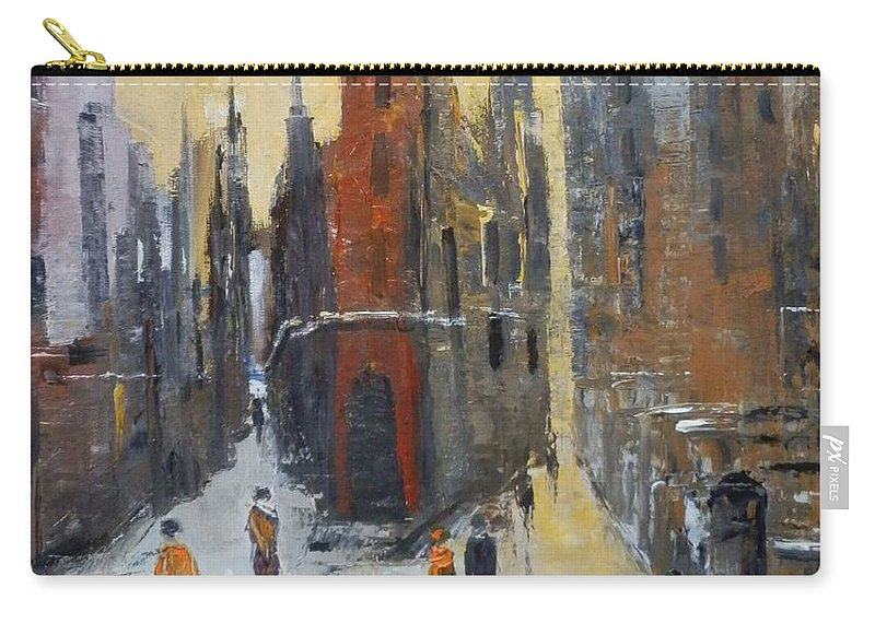 Abstract Carry-all Pouch featuring the painting The City At Sunset by Maria Karalyos