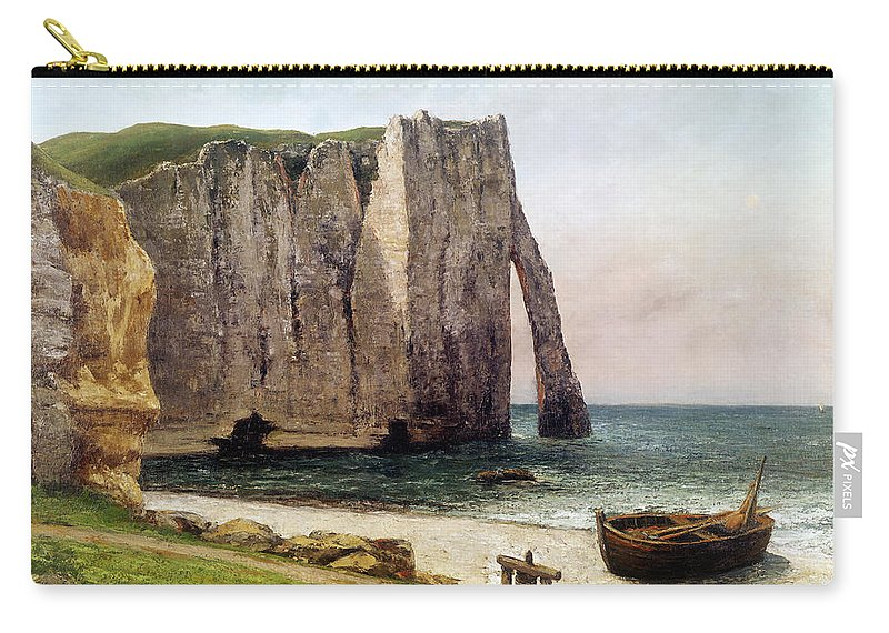 The Carry-all Pouch featuring the painting The Cliffs At Etretat by Gustave Courbet