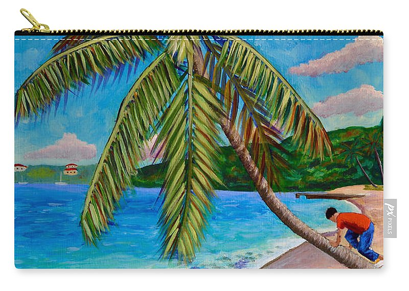 Coconut Tree Carry-all Pouch featuring the painting The Climb by Laura Forde