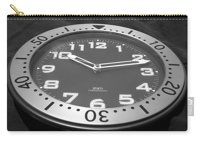 Black And White Carry-all Pouch featuring the photograph The Clock by Rob Hans