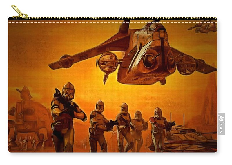 Star Wars 7 Carry-all Pouch featuring the painting The Clone Wars by Leonardo Digenio