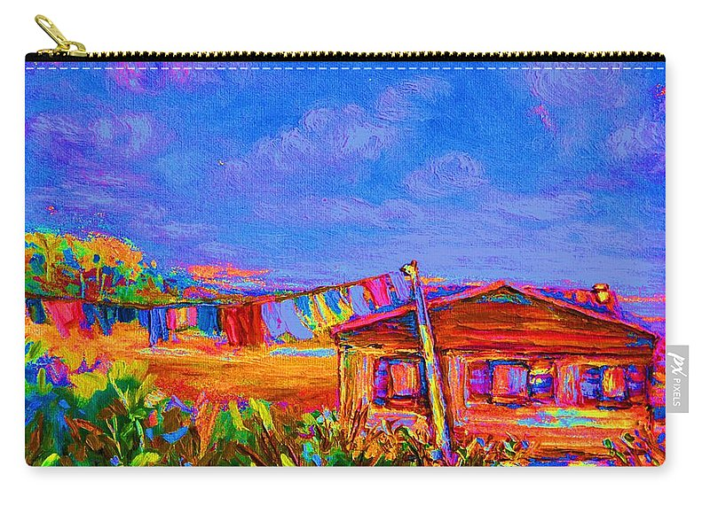 Clothesline Scenes Carry-all Pouch featuring the painting The Clothesline by Carole Spandau