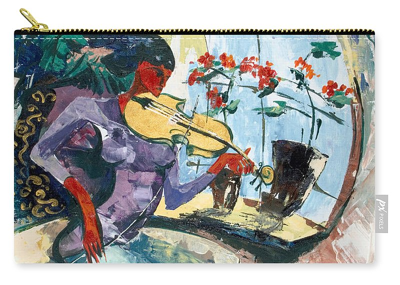 Music Carry-all Pouch featuring the painting The Color Of Music by Elisabeta Hermann