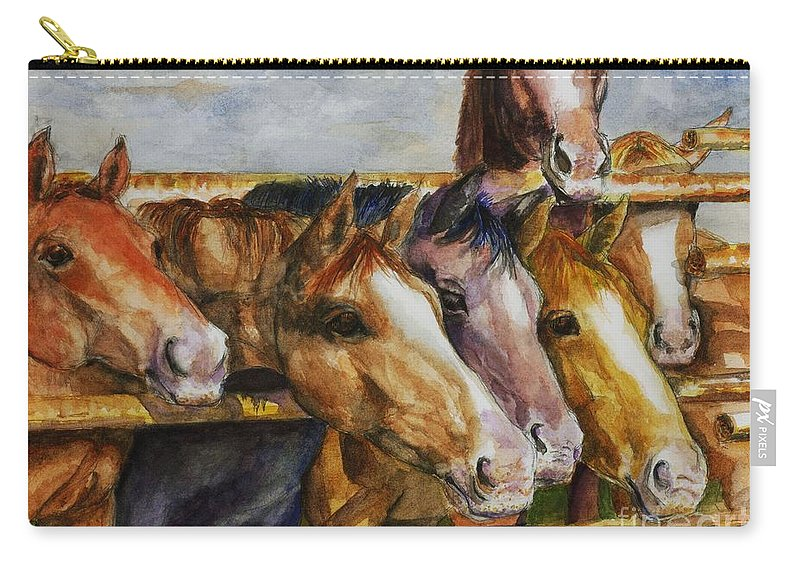 Horses Carry-all Pouch featuring the painting The Colorado Horse Rescue by Frances Marino