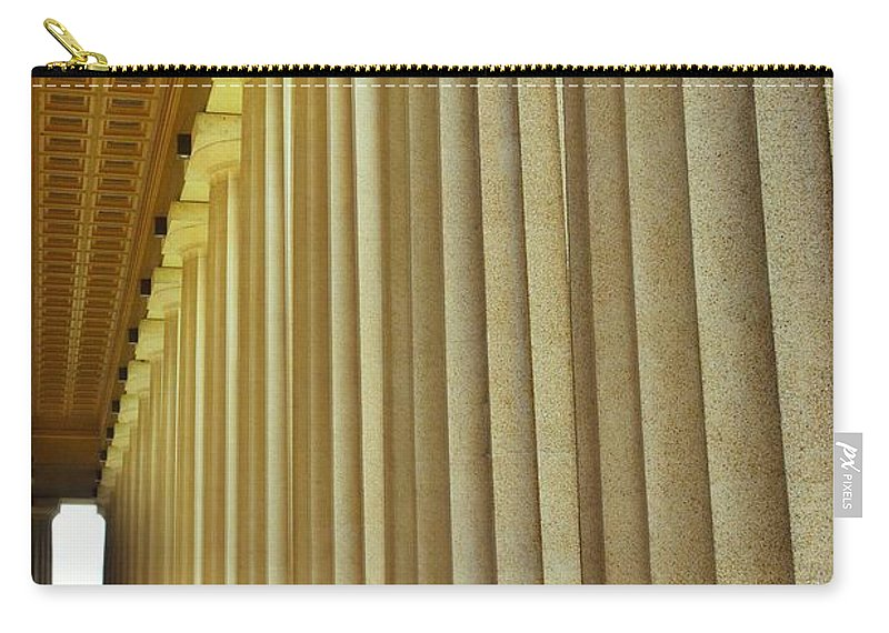 The Columns At The Parthenon In Nashville Tennessee Carry-all Pouch featuring the photograph The Columns At The Parthenon In Nashville Tennessee by Lisa Wooten