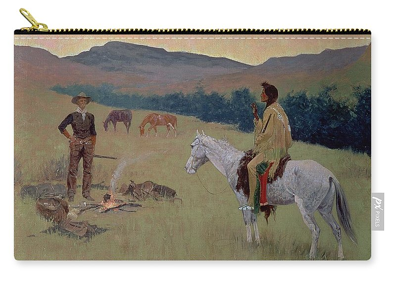 The Conversation Carry-all Pouch featuring the painting The Conversation by Frederic Remington