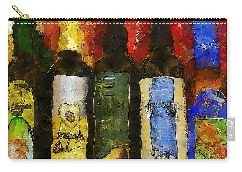 Bottles Carry-all Pouch featuring the painting The Cook's Elixirs by RC DeWinter