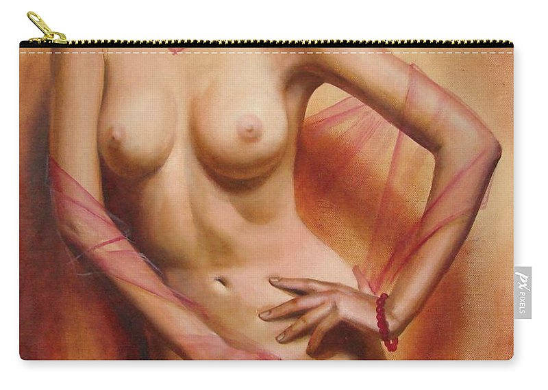 Oil Carry-all Pouch featuring the painting The Coral Bracelet by Sergey Ignatenko