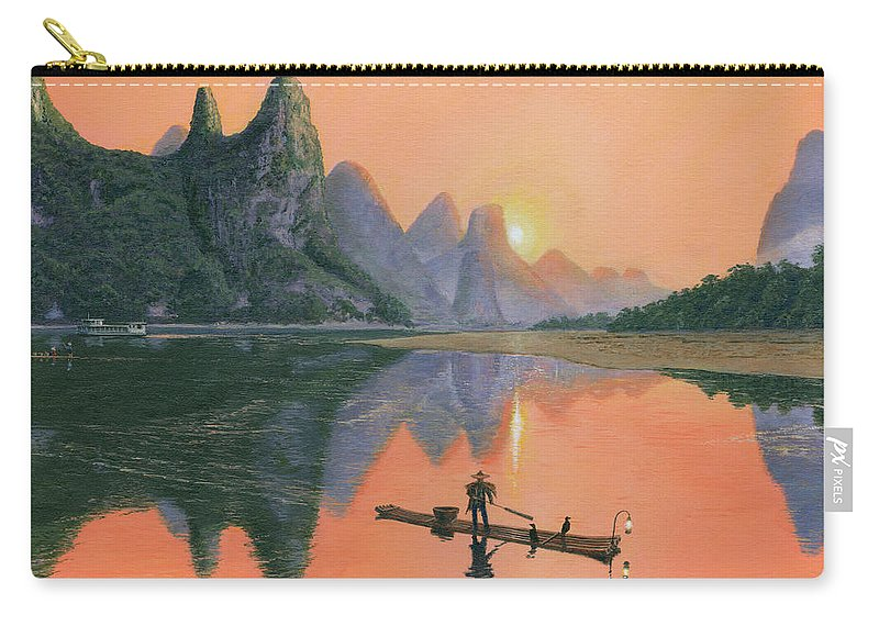 Painting For Sale Carry-all Pouch featuring the painting The Cormorant Fisherman Li River Guilin China by Richard Harpum