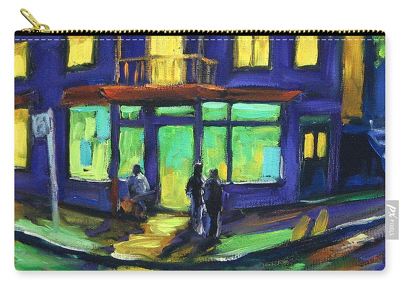 Town Carry-all Pouch featuring the painting The Corner Store by Richard T Pranke