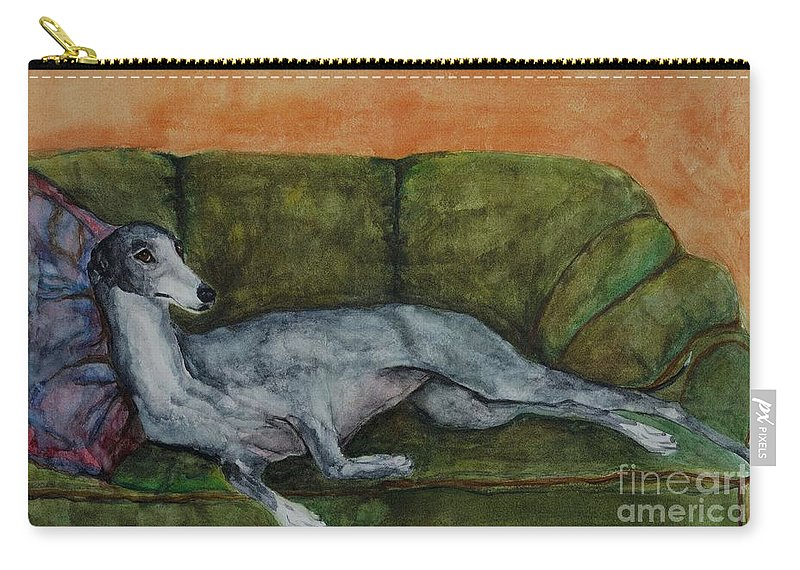 Greyhounds Carry-all Pouch featuring the painting The Couch Potatoe by Frances Marino