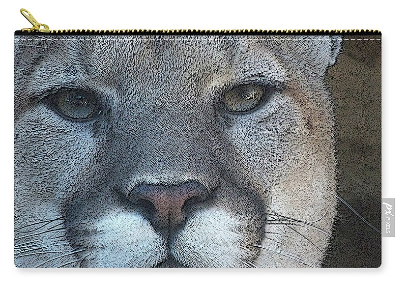 Animals Carry-all Pouch featuring the digital art The Cougar 3 by Ernie Echols