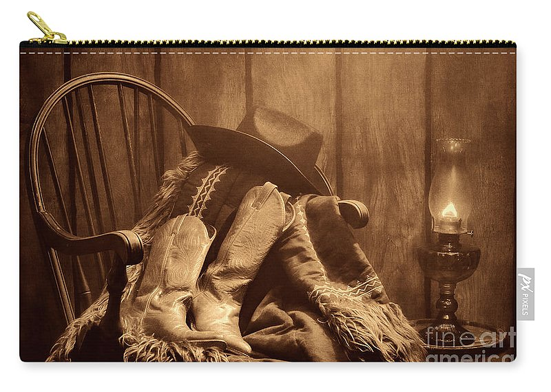 Antique Carry-all Pouch featuring the photograph The Cowgirl Rest by American West Legend By Olivier Le Queinec