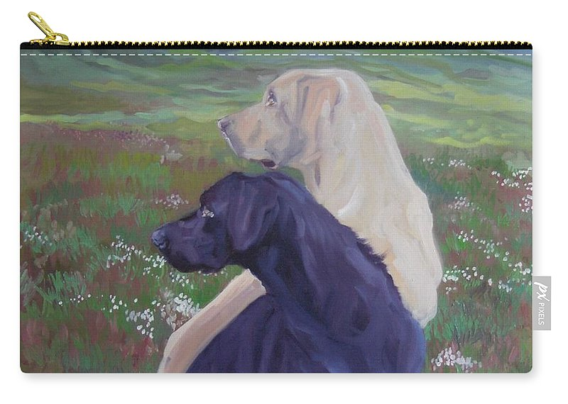 Labrador Retrievers Carry-all Pouch featuring the painting The Crack Of The Rifle by Sheila Wedegis