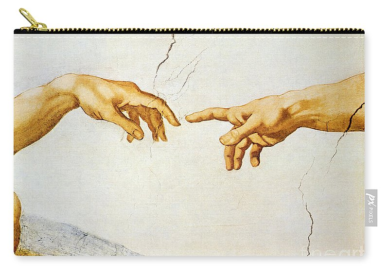The Carry-all Pouch featuring the painting The Creation Of Adam by Michelangelo Buonarroti