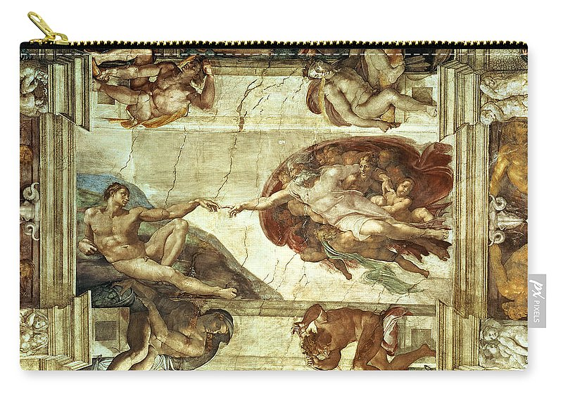 The Creation Of Adam Carry-all Pouch featuring the painting The Creation Of Adam by Michelangelo