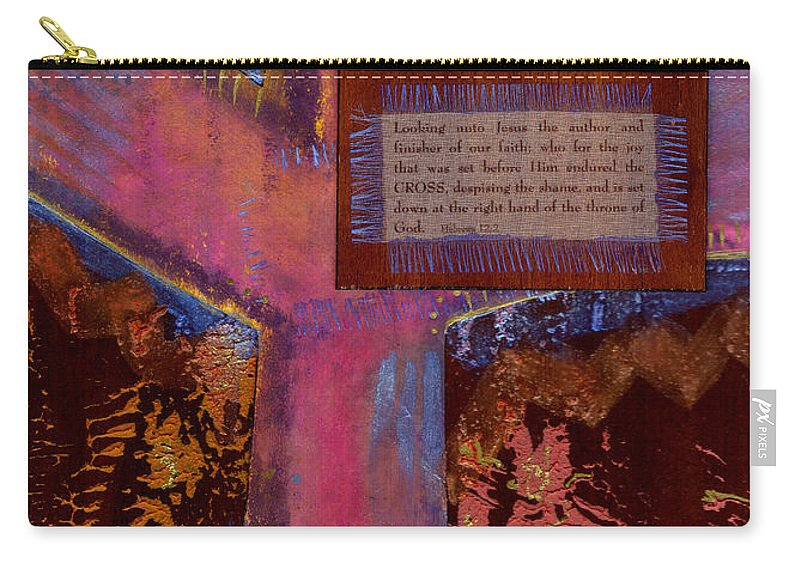 Wood Carry-all Pouch featuring the mixed media The Cross by Angela L Walker