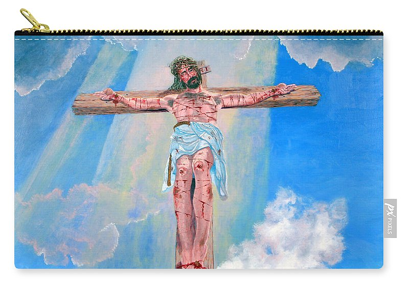 Christian Carry-all Pouch featuring the painting The Crucifixion Daytime by Stan Hamilton