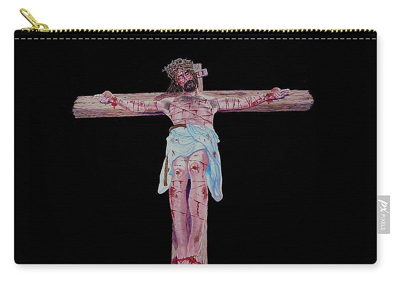 Crucifixion Carry-all Pouch featuring the painting The Crucifixion by Stan Hamilton