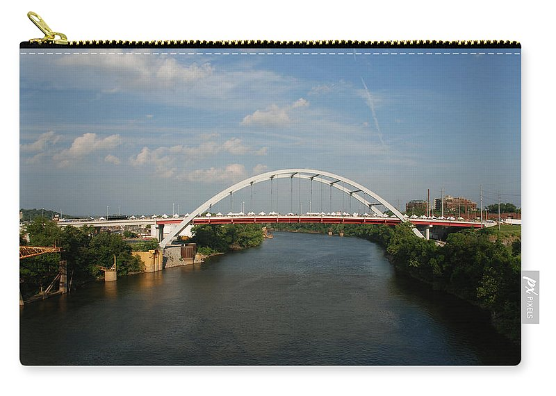 Nashville Photos Carry-all Pouch featuring the photograph The Cumberland River In Nashville by Susanne Van Hulst