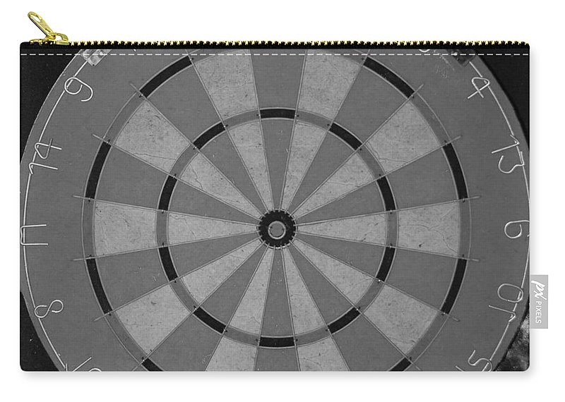 Macro Carry-all Pouch featuring the photograph The Dart Board In Black And White by Rob Hans