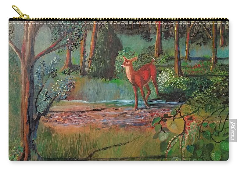 Deer Carry-all Pouch featuring the painting The Deer by Cindy Harvell