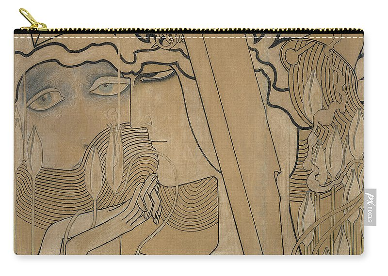 Jan Carry-all Pouch featuring the pastel The Desire And The Satisfaction by Jan Theodore Toorop