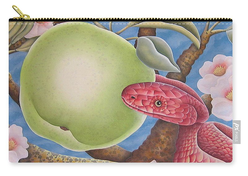 Religious Carry-all Pouch featuring the painting The Devil And Granny Smith by Jeniffer Stapher-Thomas