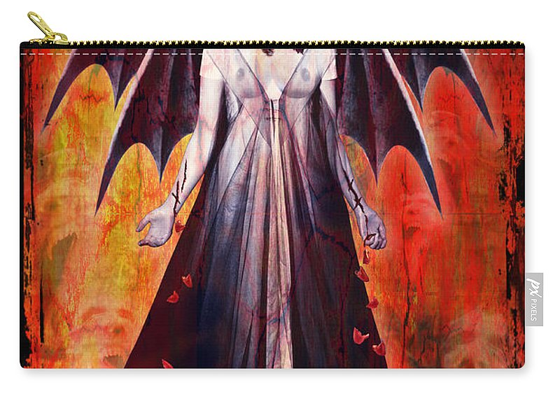 Divine Carry-all Pouch featuring the digital art The Devil by Tammy Wetzel