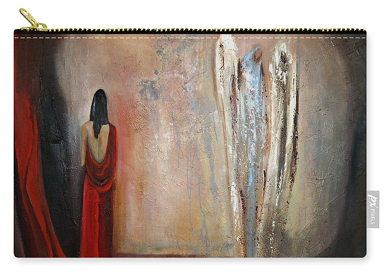 Angels Carry-all Pouch featuring the painting The Devine Messenger by Niki Sands