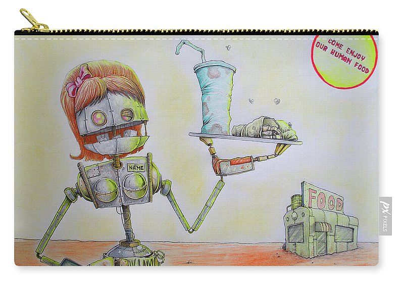 Chase Fleischman Carry-all Pouch featuring the drawing The Diner by Chase Fleischman