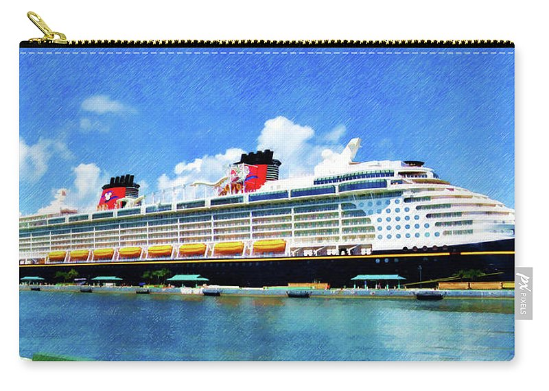 Disney Dream Carry-all Pouch featuring the painting The Disney Dream in Nassau by Sandy MacGowan
