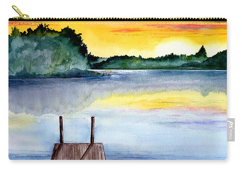 Watercolor Carry-all Pouch featuring the painting The Dock by Brenda Owen