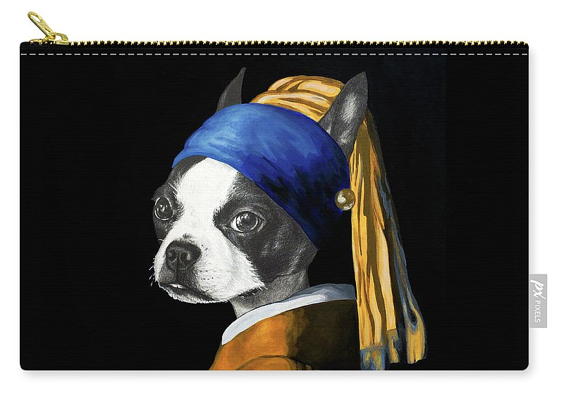 Dog Carry-all Pouch featuring the painting The Dog With A Pearl Earring by Courtney Kenny Porto
