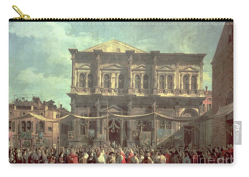 The Doge Visiting The Church And Scuola Di San Rocco Carry-all Pouch featuring the painting The Doge Visiting The Church And Scuola Di San Rocco by Canaletto