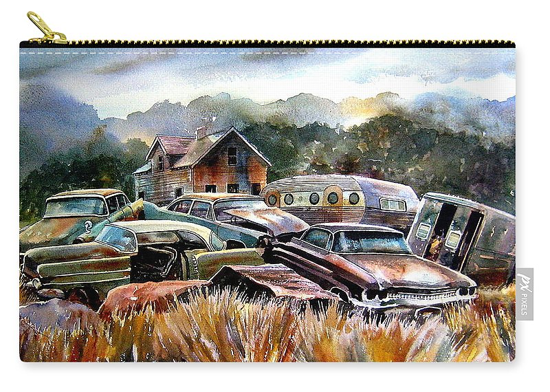 Old Wrecked Cars Carry-all Pouch featuring the painting The Donor Cars by Ron Morrison