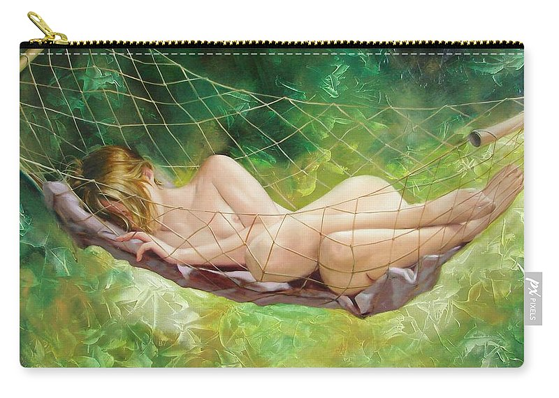 Oil Carry-all Pouch featuring the painting The dream in summer garden by Sergey Ignatenko