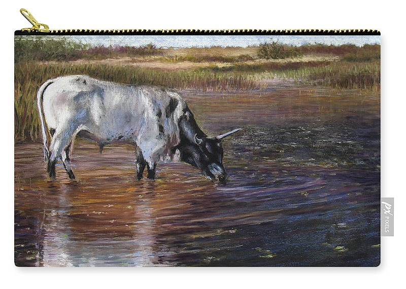 Cow Carry-all Pouch featuring the pastel The Drink by Susan Jenkins