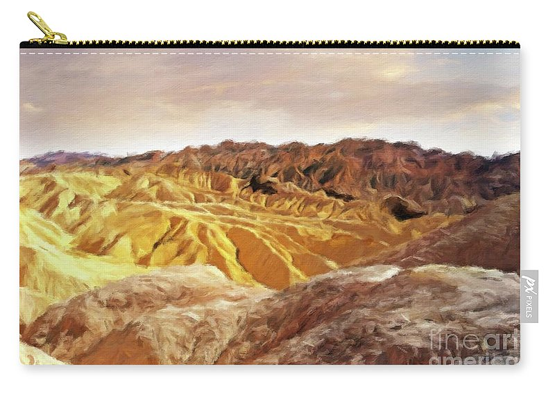 Landscape Carry-all Pouch featuring the painting The Dry Lands by Sarah Kirk