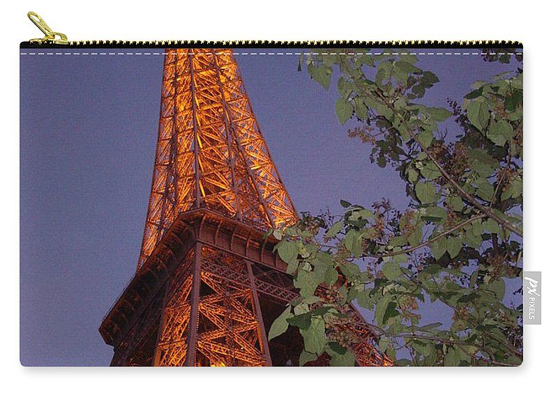 Tower Carry-all Pouch featuring the photograph The Eiffel Tower Aglow by Nadine Rippelmeyer