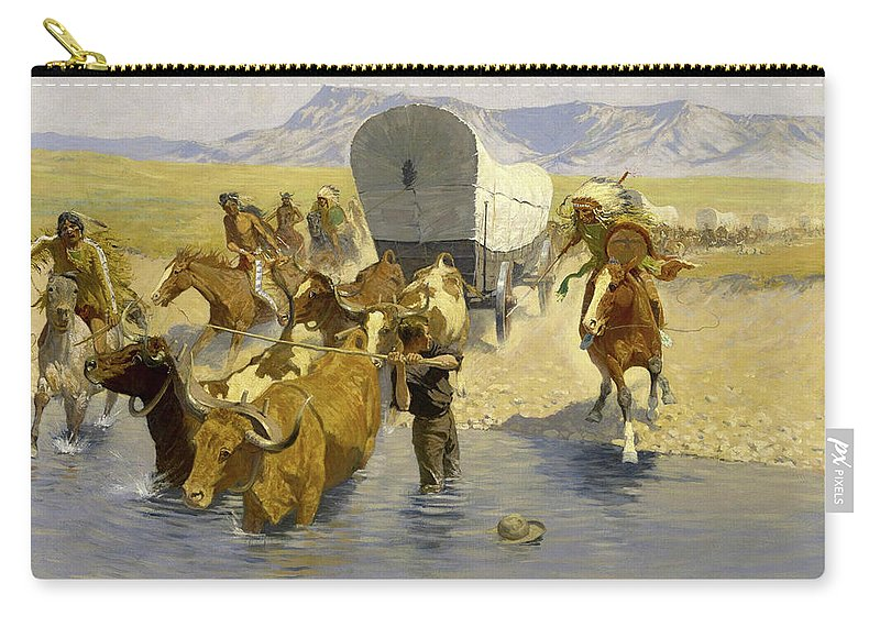 Emigrants Carry-all Pouch featuring the painting The Emigrants by Frederic Sackrider Remington