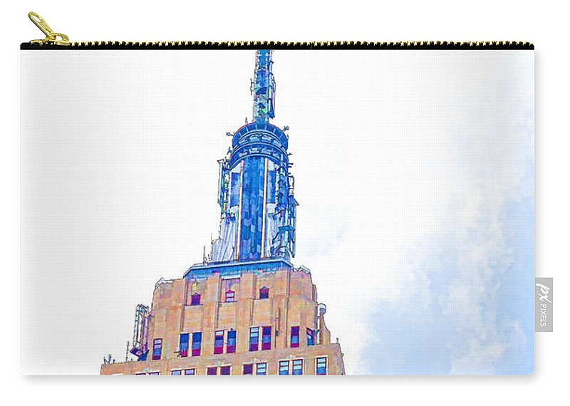 The Empire State Building Carry-all Pouch featuring the painting The Empire State Building 1 by Jeelan Clark